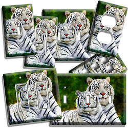WILD COUPLE WHITE BENGAL TIGERS LIGHT SWITCH OUTLET WALL PLATE ROOM HOME DECOR