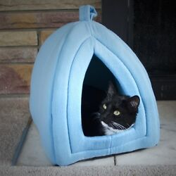 Cozy Kitty Igloo Tent Enclosed Cat Bed Cave Blue or Brown