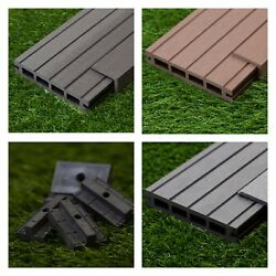 39 Sqm Of Wooden Composite Decking Inc Boards Edging And Fixing Packs