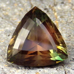Green-orange-pink Schiller Oregon Sunstone 14.03ct Flawless-for High-end Jewelry