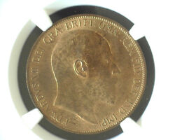 Great Britain 1902 One Penny High Sea Level Ngc Ms 64 Rb Mostly Red Km-794.2