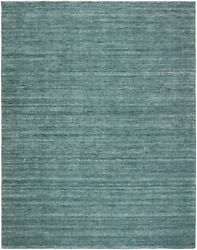 Kalaty Blue Wool Lined Silkette Single-color Contemporary Area Rug Solid Te-655