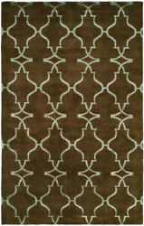 Kalaty Brown Lines Curves Jagged Waves Contemporary Area Rug Geometric Pf-344