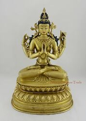 Hand Carved Gold Gilded Face Painted 15.5 Chenrezig Copper Statue Patan Nepal