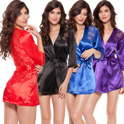 Sexy Lingerie Women Satin Lace Silk Underwear Babydoll Nightdress Sleepwear Robe