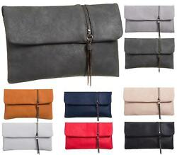 LADIES FLAT FOLD OVER ZIP TASSEL ENVELOPE FAUX LEATHER PARTY EVENING CLUTCH BAGS