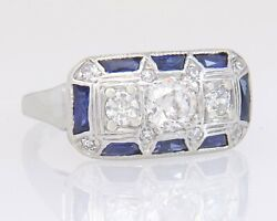 Antique 14k Gold 1.15ct Genuine Diamond And Blue Sapphire Art Deco Ring Size 5.25