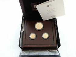 2010 Royal Mint London 2012 Olympic Games Faster Gold Proof 3 Coin Set Box Coa