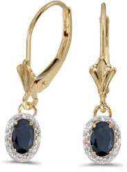 14k Yellow Gold Oval Sapphire And Diamond Leverback Earrings E3461x-09