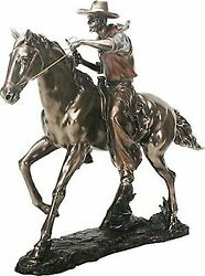 Large 21.25long Cowboy On Horse Figurine In Bronze Powder Finish Resin Statue