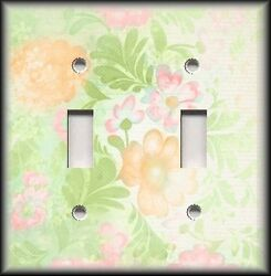 Metal Light Switch Plate Cover - Sherbert Colors Pastel Flowers - Floral Decor