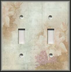 Metal Light Switch Plate Cover - Shabby Chic Home Decor - Floral Roses Peach Tan