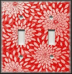 Metal Light Switch Plate Cover - Floral Mums Sunburst Home Decor - Red Coral