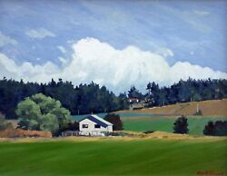 Keith Hiscock Original Oil Painting On Canvas Farm House Victoria Bc 1980and039s