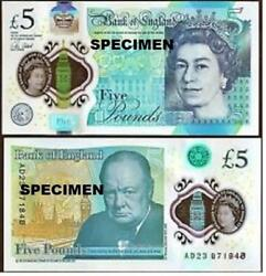 Real Bank Of England Andpound5 Five Pound Banknote Plastic Polymer 2016 Unc Currency