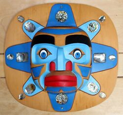 Brant Johnny Original Hand Carved Painted Signed Wood Mask Native Moon 1990and039s