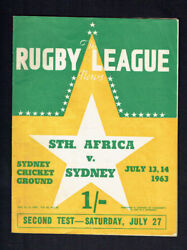 Mm. The Rugby League News July 13-14th 1963 South Africa Vs Sydney Cover