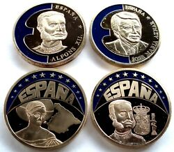 Spain 4 Coloured Europe-ecu 1997-98 Proof Medals 40mm 33g Gold Plated Copper. B8