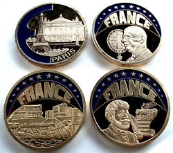 France 4 Coloured Europe-ecu 1997-99 Proof Medals 40mm 33g Gold Plated Copper B8