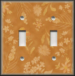 Metal Light Switch Plate Cover - Orange Floral Home Decor Flowers