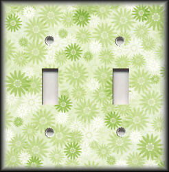 Metal Light Switch Plate Cover - Green Floral Home Decor Sunburst Flowers