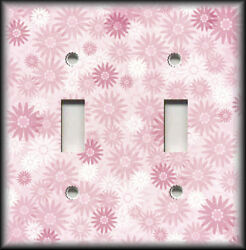 Metal Light Switch Plate Cover - Pink Floral Home Decor Sunburst Flowers