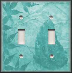 Metal Light Switch Plate Cover - Leaves Butterfly Silhouette Decor Turquoise