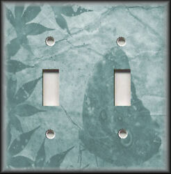 Metal Light Switch Plate Cover - Leaves Butterfly Silhouette Decor Teal