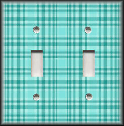 Metal Light Switch Plate Cover - Plaid Pattern Home Decor Turquoise Blue