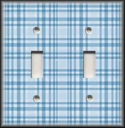 Metal Light Switch Plate Cover - Plaid Pattern Home Decor Blue