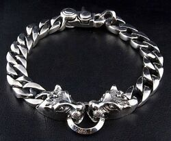 Tribal Wolf Cuban Link 925 Sterling Silver Chain Bracelet Menand039s New Gothic Biker