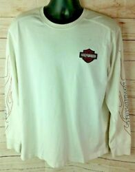 Harley Davidson Men's Large Long Sleeve Large L White Patches Flames