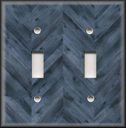 Metal Light Switch Plate Cover - Rustic Chevron Wood Design Blue Grey