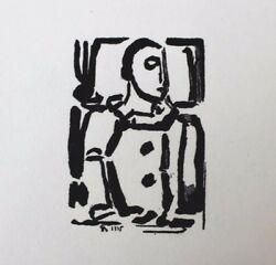 Georges Rouault Original Woodcut Etching Pierrot / Clown 1935 Very Rare