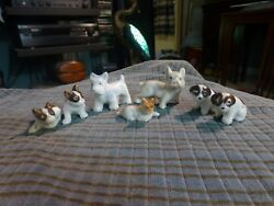 Vintage MIXED DOG TERRIER Miniature Porcelain Figurine Lot Of 7 Made In Japan