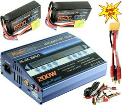 Powerhobby 100W X2 Dual Lipo Charger Blue + 4s 6500mah 100c XT90 Lipo Battery