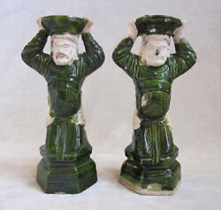 Pair Of Chinese Attendant Figure Candle Holders Ming Dynasty C. 1368-1644 A.d.