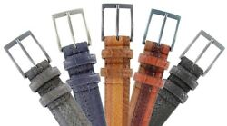Genuine Leather Belt with Alligator Lizard and Snake Skin Embossing