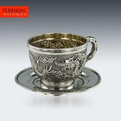 Antique 19thc Chinese Export Solid Silver Cased Cup And Saucer Tuck Chang C.1890