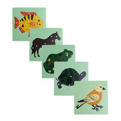 Montessori Zoology Material - 5 Wooden Knob Puzzles Kids Educational Toys