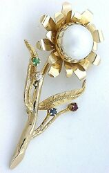 14kt Real Handmade Pure Yellow Gold Pearl Ruby Diamond Sunflower Pin Brooch 7834
