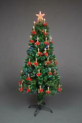 Pre Lit Christmas Tree Lights Fibre Optic With Holy Candle And Bow Home Decor