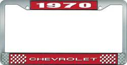 1970 Chevrolet Style 1 - Red And Chrome License Plate Frame White Lettering