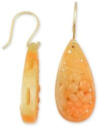 Carved Natural Red Jadeite Jade Pear-shaped Drops 14k Yellow Gold Hook Earrings
