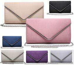 WOMENS SATIN ENVELOPE WEDDING OVER FLAP PROM PARTY EVENING CLUTCH BAG
