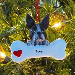 Boston Terrier With Dog Bone Personalized Christmas Tree Ornaments