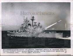 1956 Press Photo Terrier Missile launched from USS Boston in Caribbean Area.