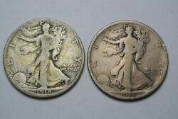 1918-d And 1918-s Walking Liberty Half Dollars, Vg/fine Condition - C4415