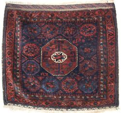 ANTIQUE BALUCH SADDLE BAG FACE STAR IN OCTAGON DESIGN SCARCE SMALL SIZE C1880