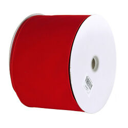 Christmas Velvet Ribbon Wired Edge Solid Red 6-Inch 50-Yard